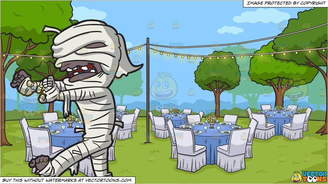 A Creepy Mummy Walking And An Outdoor Wedding Reception Background