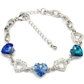 Heart-To-Heart Crystal and Sliver Bracelet.