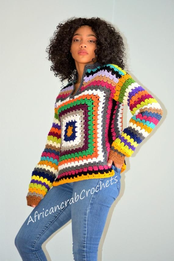 Items similar to Unisex Multicolored Granny Sweater/ Crochet Pullover/ Blouse/ Small/Medium crochet sweater on Etsy
