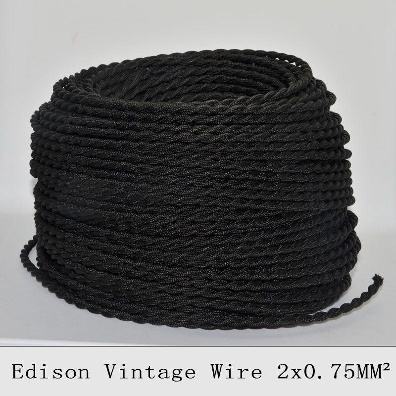 2 0 75 Mm Edison Vintage Fil Noir Twisted Tresse Fil Electrique Lampe Millesime Cordon Textile Pendentif Cable De Fil De Lumiere De Wire Pendant Light Vintage