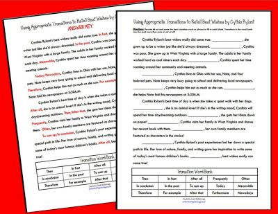 Write On Fourth Grade Transition Words Transition Words