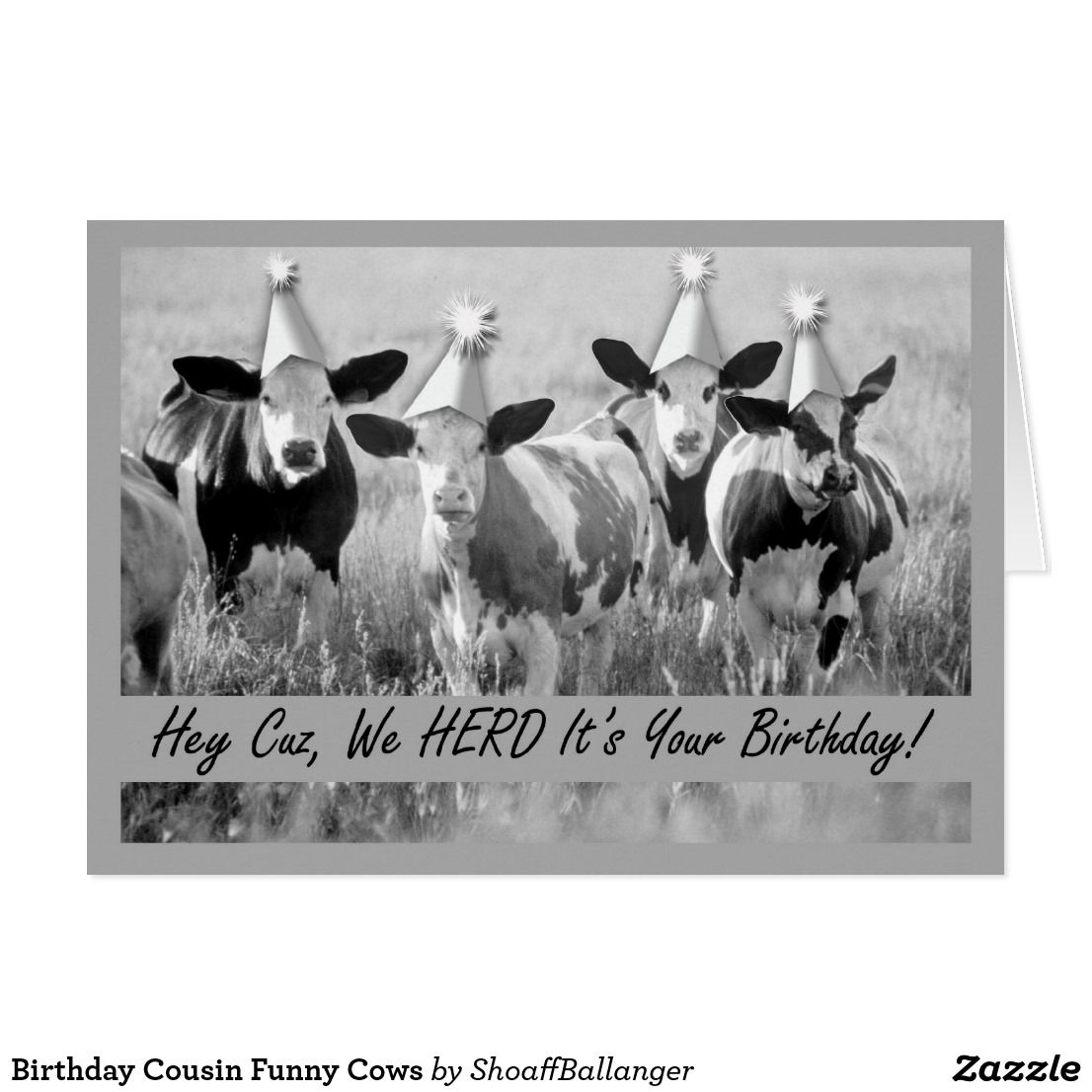 Birthday Cousin Funny Cows Card Funny Greeting Cards Pinterest