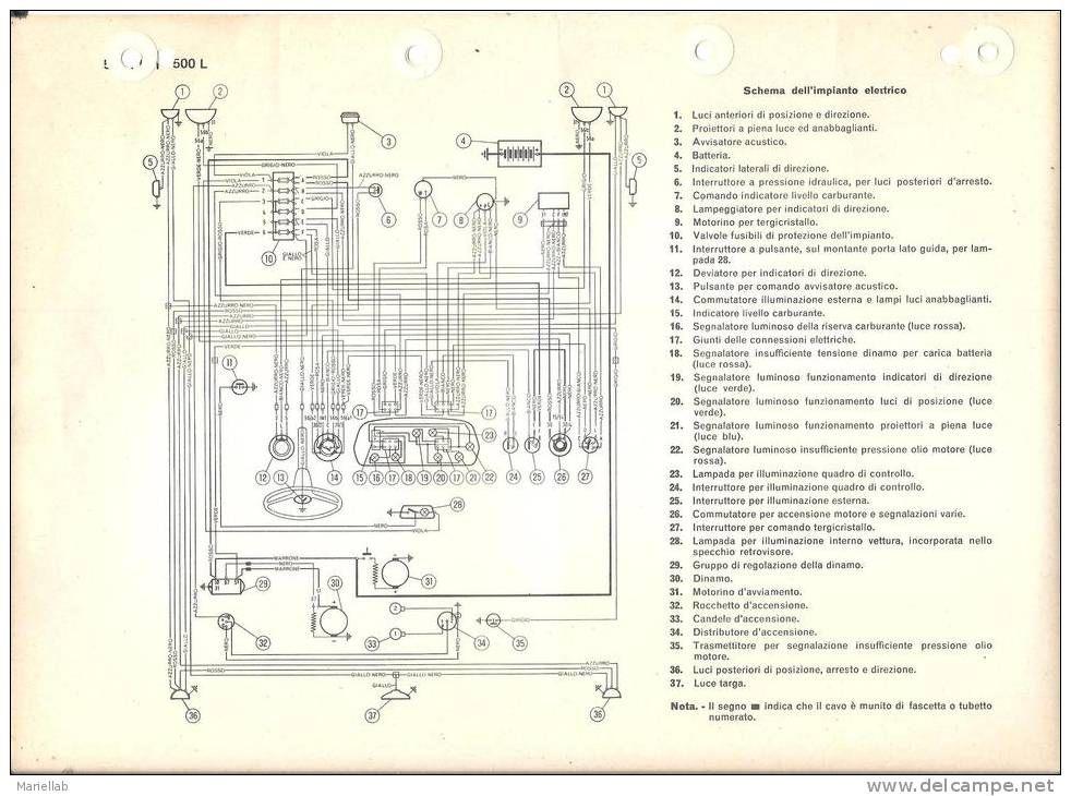 Schema Elettrico Nexus 500 : Auto fiat l schema impianto elettrico