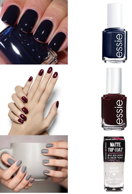 Fall '13 nail trends: essie after school boy blazer, essie wicked, and matte