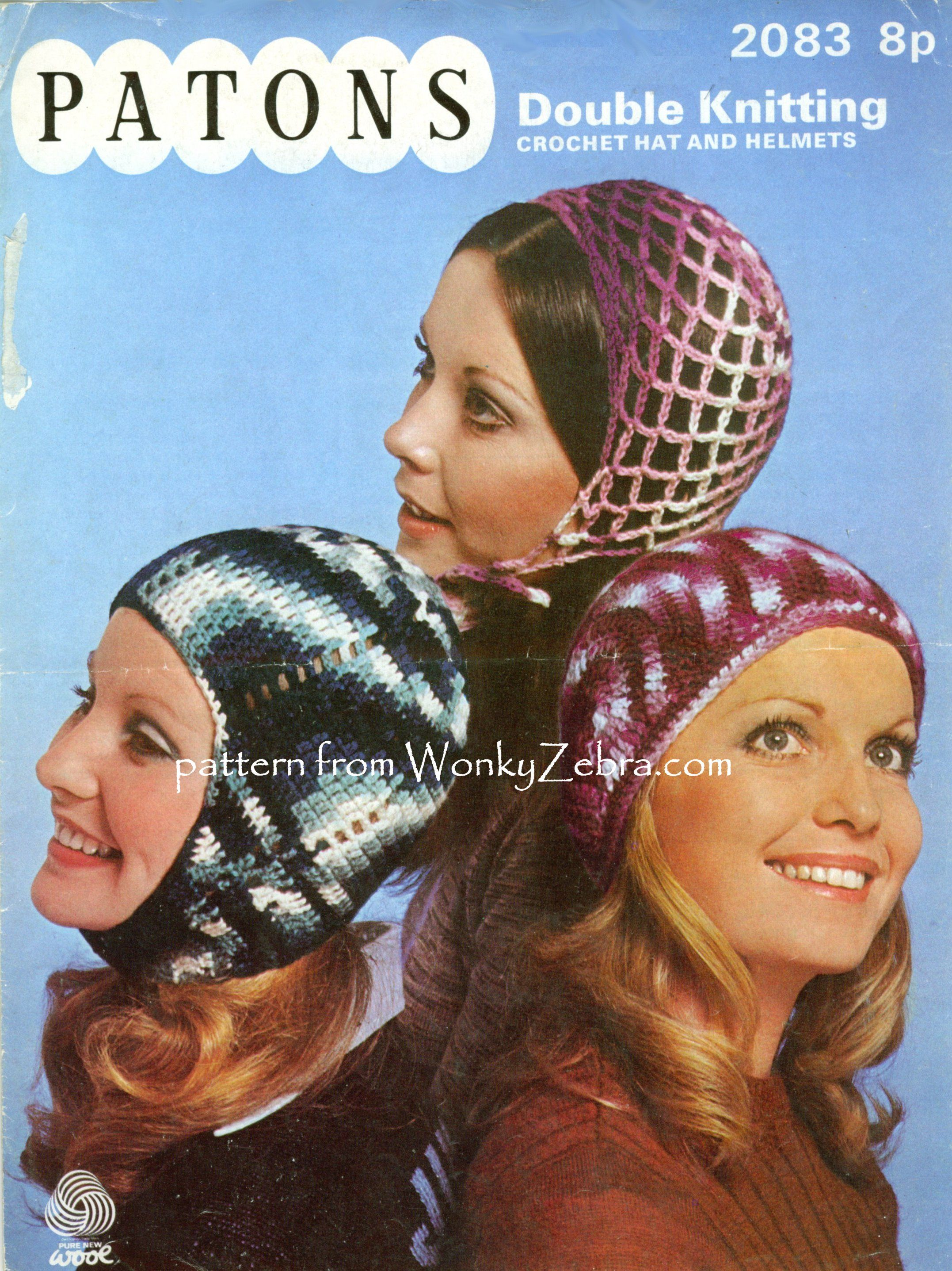 WZ107, totally mad retro headgear ...crochet hats from the 70s including a Juliette cap, and balaclava. Patons 2083