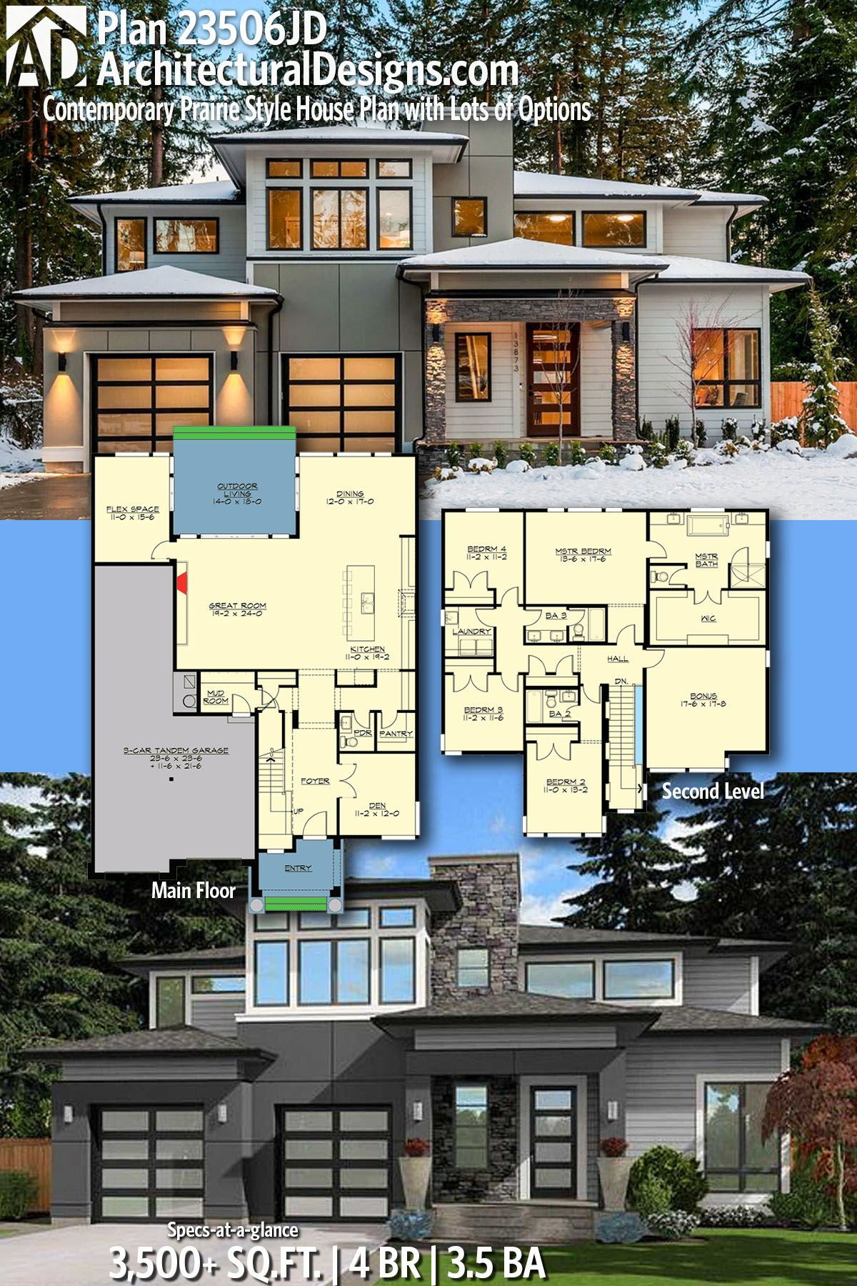 Plan 23506jd Contemporary Prairie Style House Plan With Lots Of Options House Plans Prairie Style Houses House Blueprints