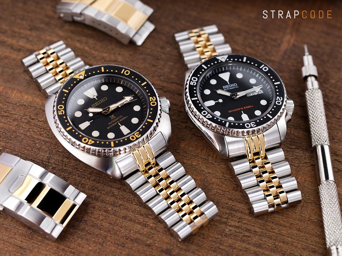 f8d2710df796 MiLTAT Two tone IP gold Super jubilee bracelet on Seiko New Turtle SRP775  and Seiko SKX007