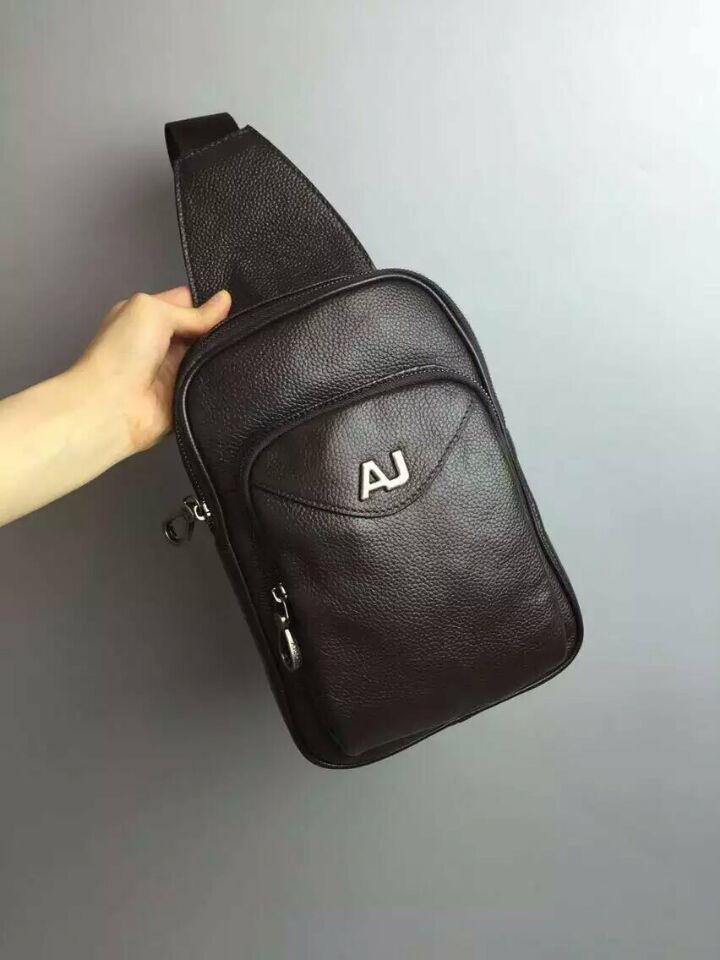 ARMANI Brand Bag Men Chest Pack Sling Single Shoulder Strap Pack Bag  Leather Travel Bag Men Fashion Handbags Rucksack Chest Bag 197c9ec37fa07