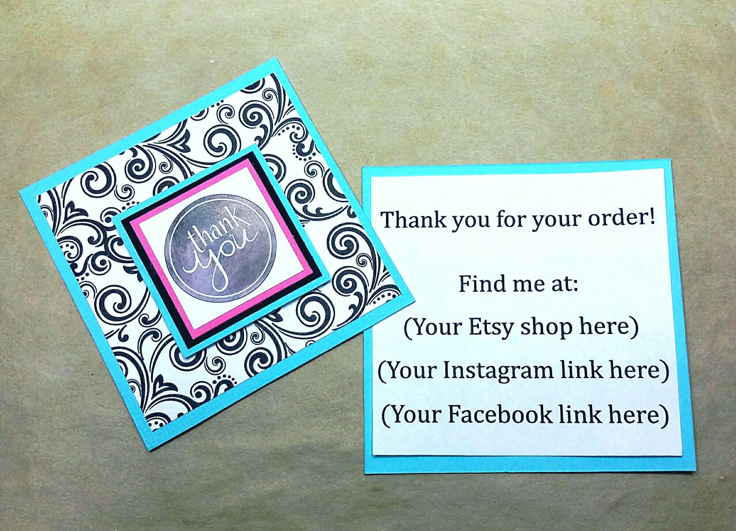 3x3 Mini Card, Custom Order Card, Package Insert, Thank You Insert ...