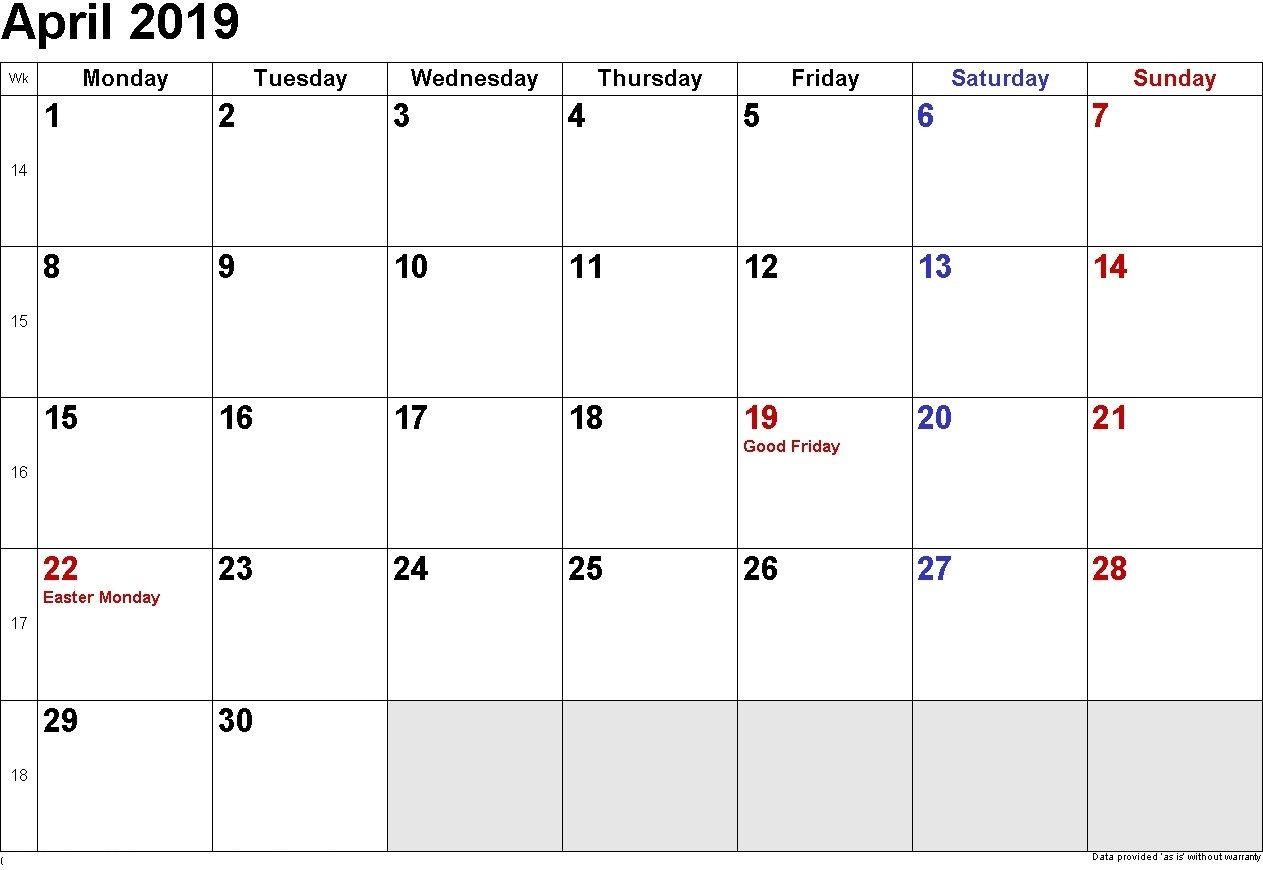 April 2019 Calendar Printable Template In Pdf Word Excel