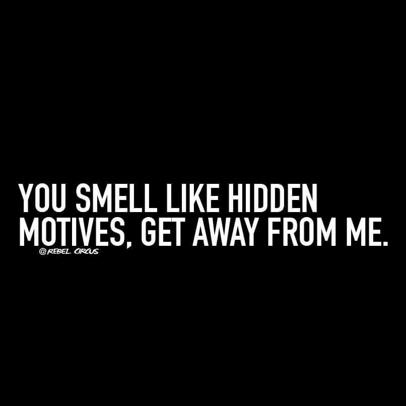 You smell like hidden motives, get away from me. | This is ...