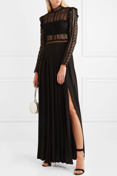Guipure Lace And Crepe Maxi Dress - Black Self Portrait IC2lESEIVl