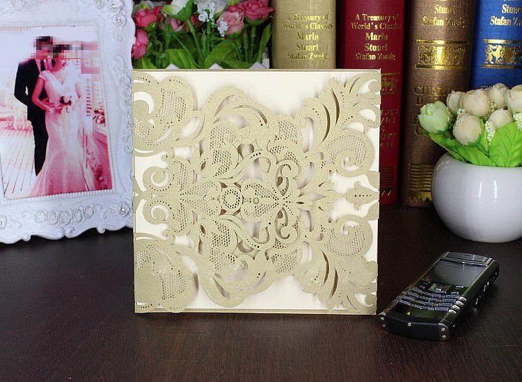 5pcs Hot Invitation Card Sample Lace Shape Gold Laser Cut Hollow - birthday card sample