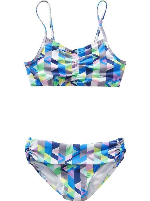 Girls Geometric-Print Bikinis