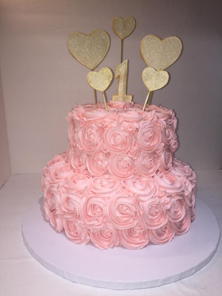 Pink Rosette 2 Tier 1st Birthday Cake W Gold Accents