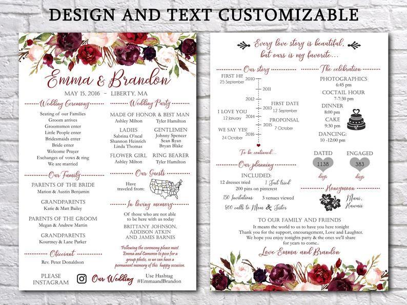 Fun Infographic Wedding Program Template Printable Modern Etsy Wedding Programs Template Wedding Programs Wedding Infographic