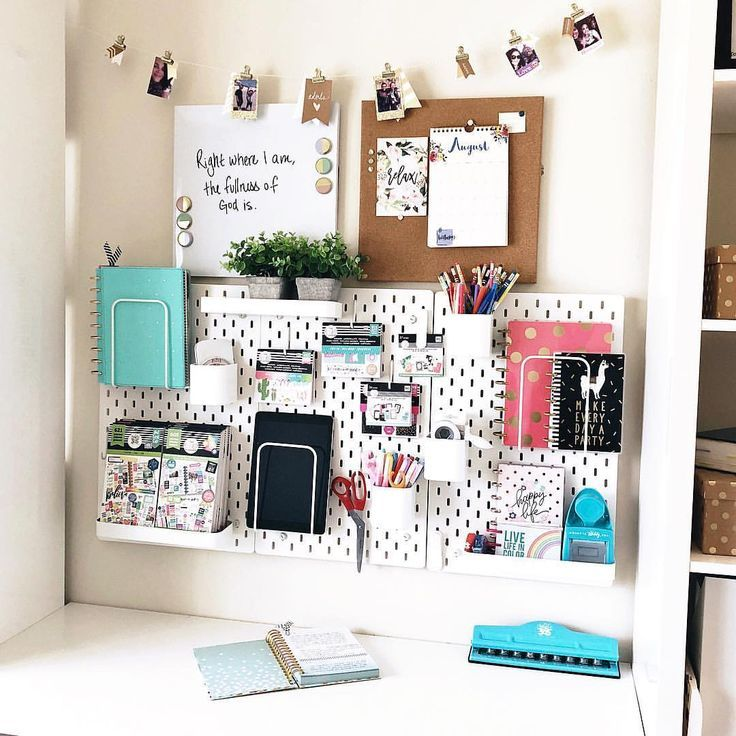 Gave my desk a facelift! I've been seeing this IKEA pegboard coming up a lot o... - room -