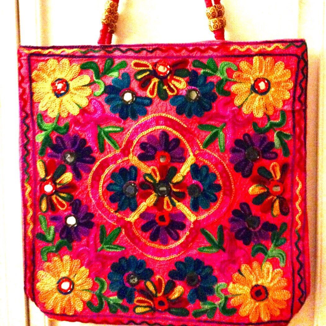 Handmade floral embroidered with mirror work cotton handbag tote.