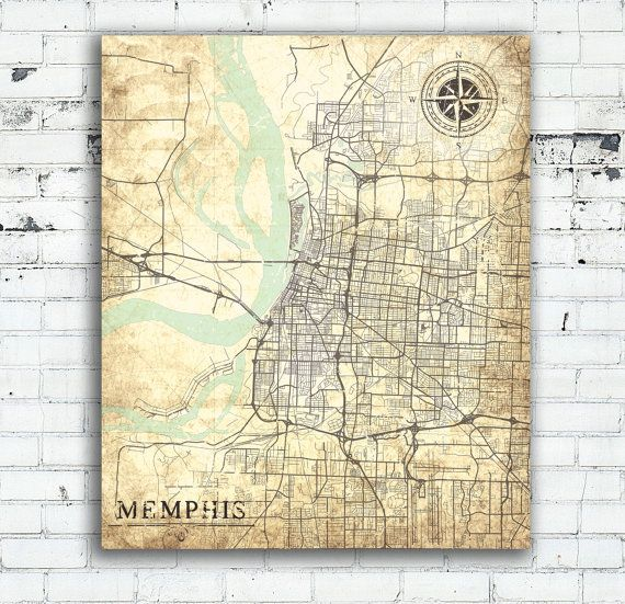 MEMPHIS Tennessee Vintage Map Memphis City Tennessee Vintage Wall - Usa map memphis