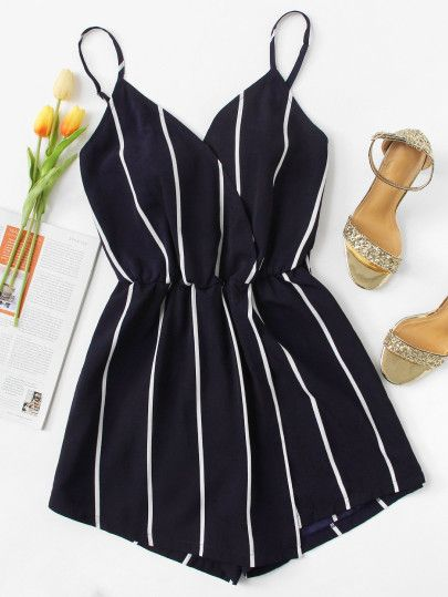 Shop Vertical Striped Cami Romper online. SheIn offers Vertical Striped Cami Romper & more to fit your fashionable needs. #jumpsuitromper