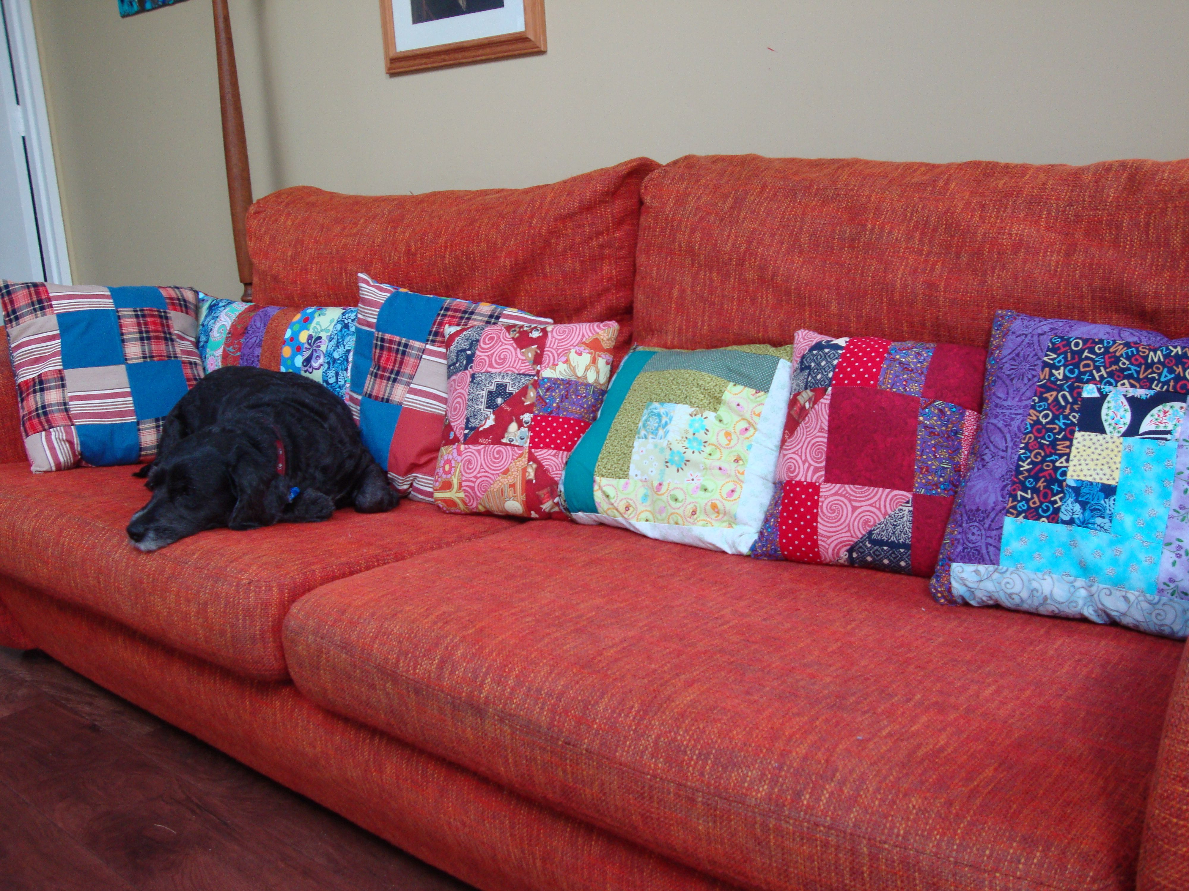 patchwork cushion covers upcycled from fabric scraps