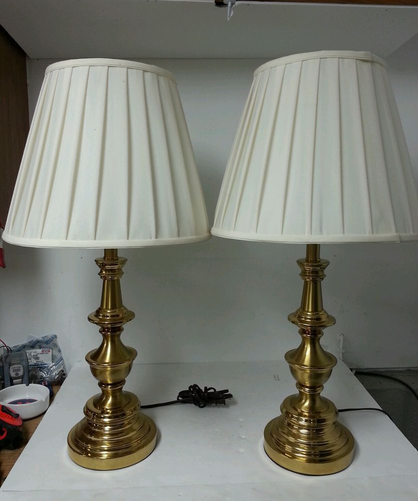 Handsome pair of stiffel solid brass 3-way lamps with shades ...
