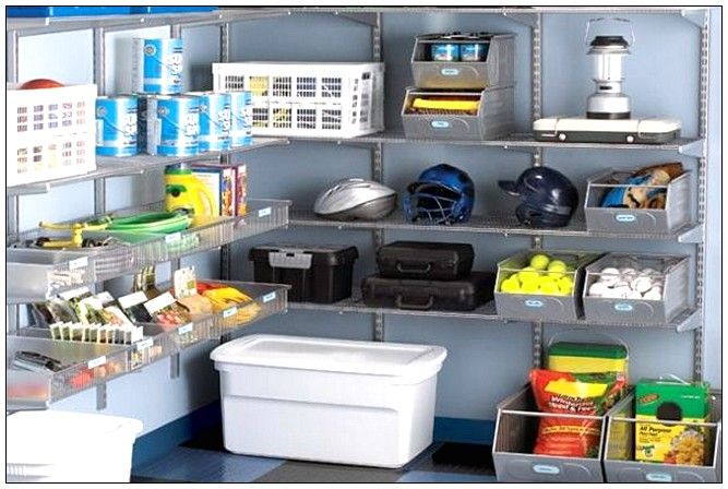 Wall shelves with bins for garage storage solution