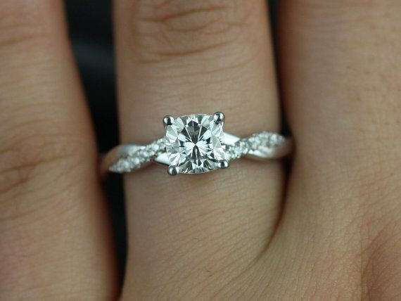 1ct Tressa 6mm 14kt White Gold Cushion Forever One Moissanite Diamond Dainty Pave Twisted Unique Engagement Ring Rosados Box Engagement Rings Twisted Wedding Rings Simple Wedding Rings Engagement