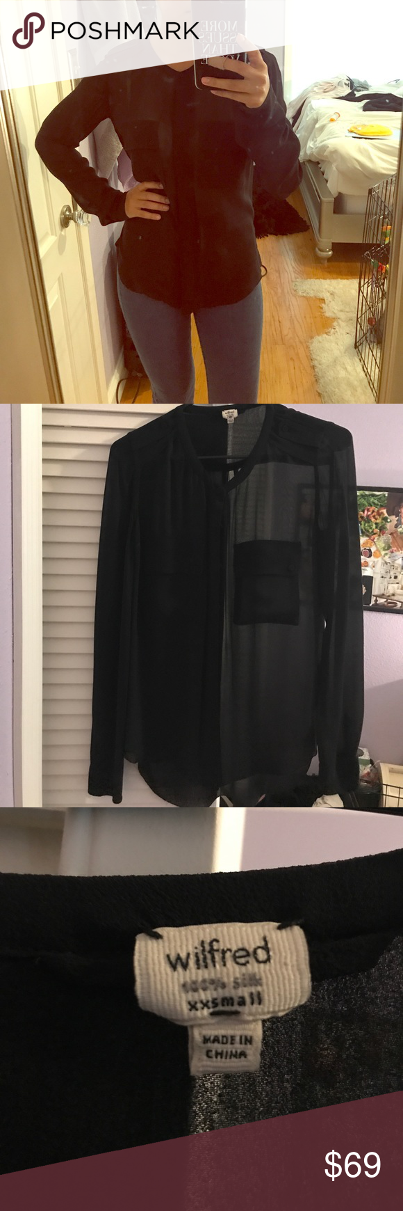 4c9bac22f1c399 Aritzia Wilfred Silk Blouse size XXS beautiful 100% silk Wilfred Aritzia  blouse. Excellent condition. Check out the rest of my closet! Wilfred Tops  Blouses