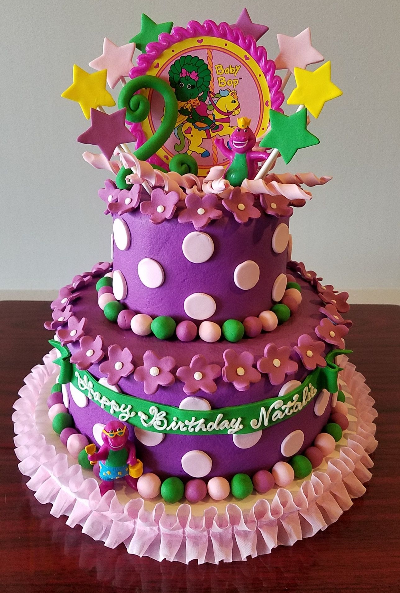 Barney Baby Bop Tiered Birthday Cake Adrienne Co Bakery