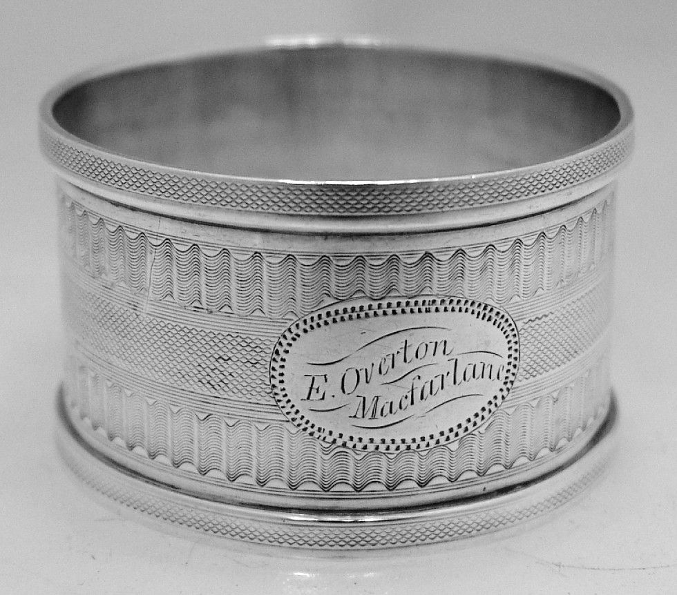 American Coin Silver Engine Turned Napkin Ring 1880