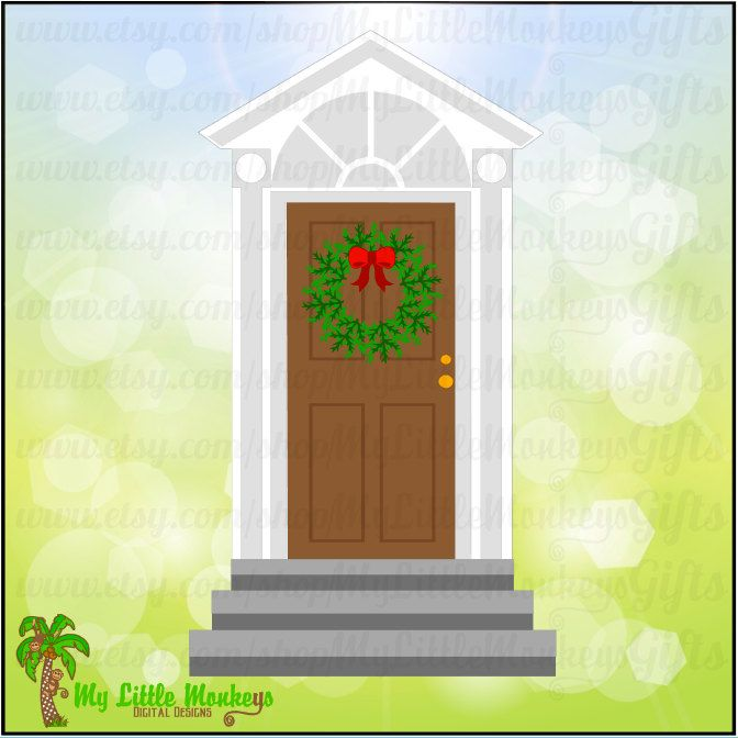 Christmas Door Elf Door with Wreath Design Digital Clipart Instant Download SVG File - pinned by pin4etsy.com
