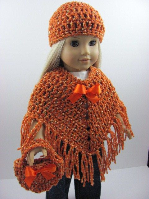 3 Piece Crocheted Poncho Set for The American Girl Doll ...