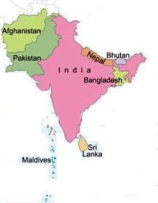 Image result for south asia map