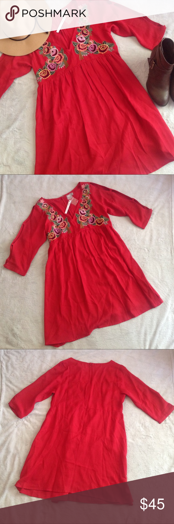 NWT ASOS Embroidered Floral Boho Maternity Dress Brand new, never worn! Gorgeous true red boho style dress by ASOS with floral embroidery along the neckline and bust. Cut-out sleeve detail and empire waist. Zips up the back. Part of the ASOS Maternity line but could be worn pregnant or not, given the loose style. Size 8, see photos for measurements. Lightweight, breathable polyester fabric. (Note: this style is still listed for sale on the ASOS website at full price!) ASOS Dresses