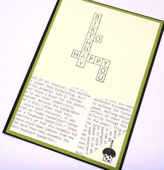 hand stamped happy birthday card for boyfriend husband  vintage newspaper crossword puzzle image