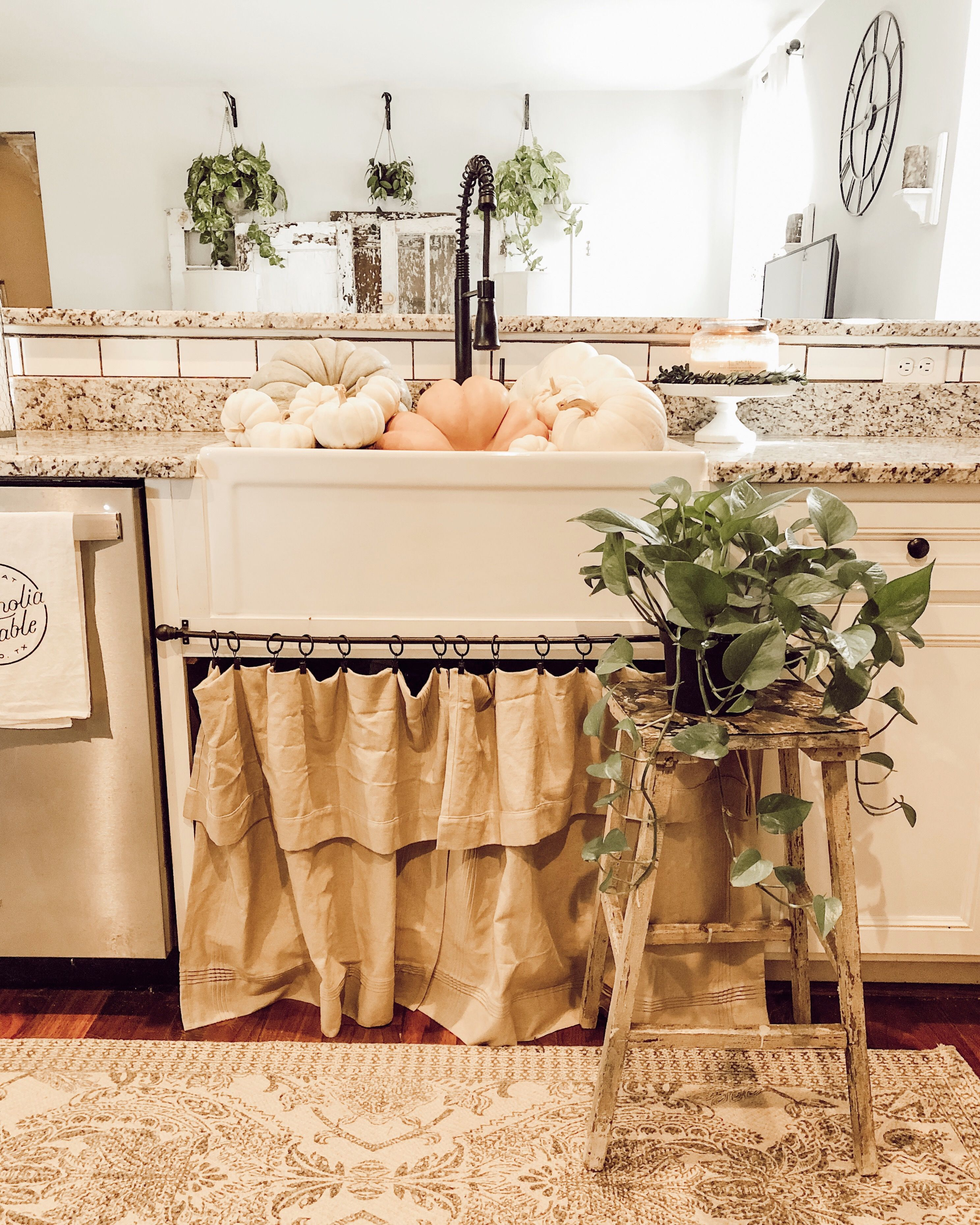 Farmhouse Kitchen Farmhouse Sink Curtain Under Sink White
