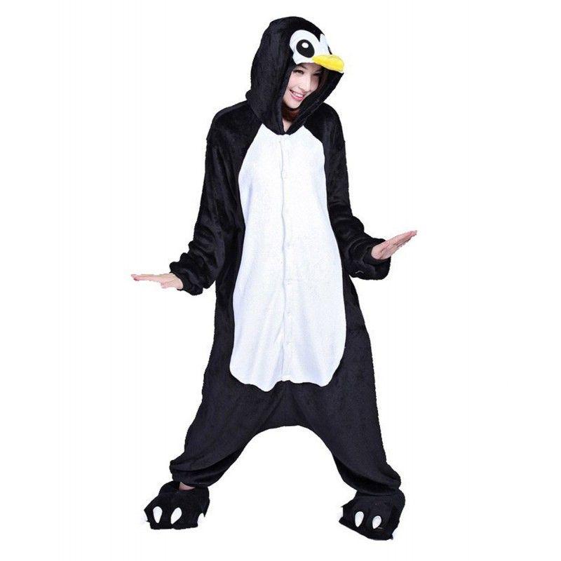 Black Penguin Kigurumi Onesies Pajamas Costumes For Women Men