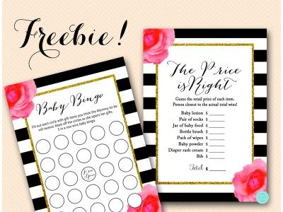 Free Pink Girl Flower Baby Shower Games Printable Instant Download