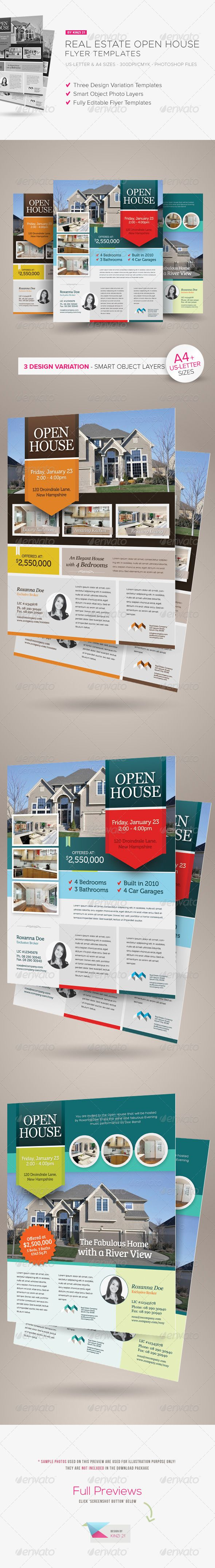Real Estate Open House Flyers  File Format Logo Templates And Serif