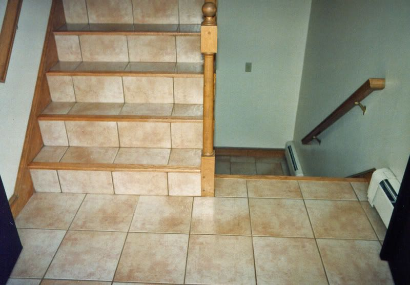 Ceramic Tile On Stairs With Hardwood Floor Bullnose