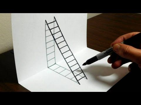 Trick Art On Line Paper Drawing Half Sphere Optical Illusion