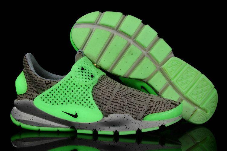 newest e6377 f7685 Girl WMNS Nike Sock Dart lightning Print English Gold White Green Glow