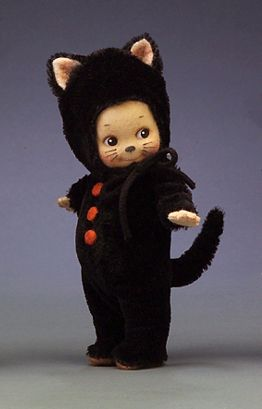 """R John Wright Dolls - Kewpie Kat® 6"""", all felt, fully jointed; hand painted features (inc. whiskers). Wears removable mohair and felt cat costume. Date of Release: 2005 Ltd. Ed. 250 ©KEWPIE 2005. ©Jesco, 2005. Under license from Jesco."""
