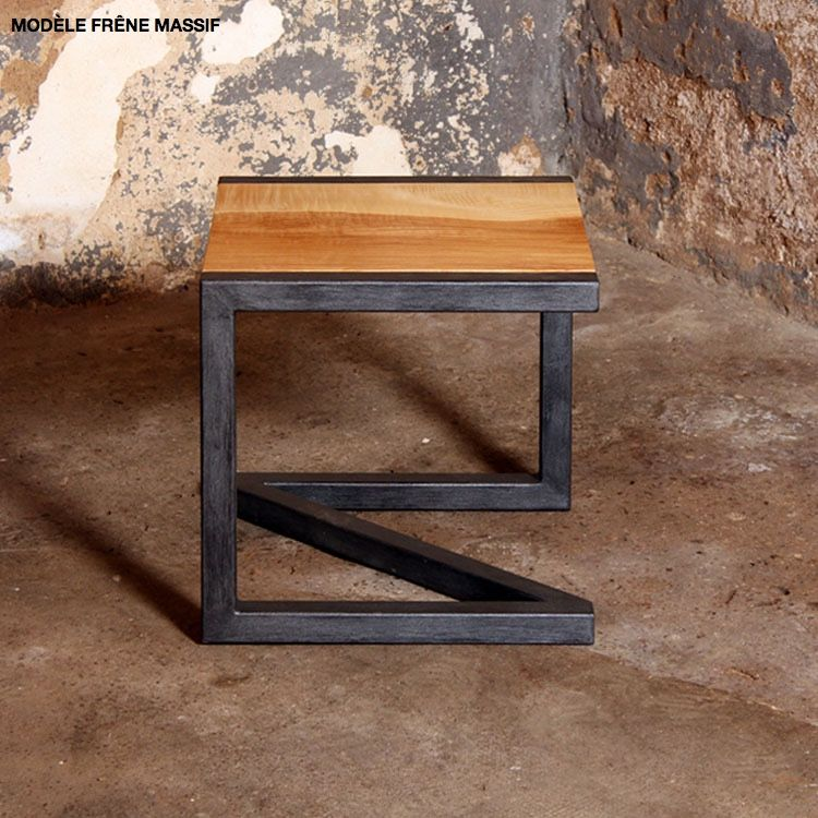 tabouret lut ce en bois massif et m tal by barnab design a personnaliser sur hopfab design. Black Bedroom Furniture Sets. Home Design Ideas