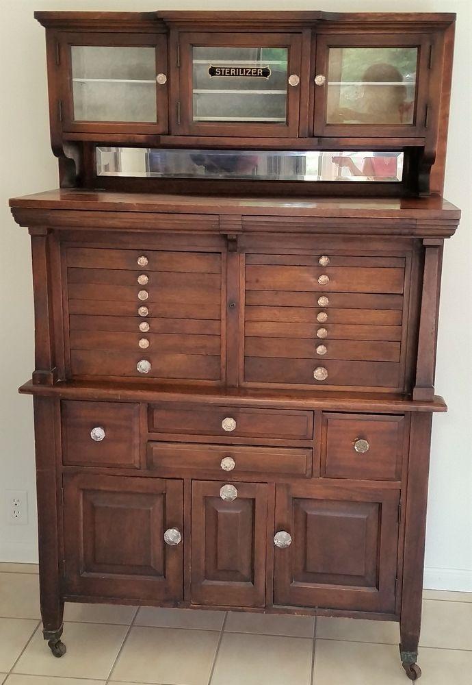 Antique Mahogany Dental Storage Cabinet Beveled Panels Original Drawer Pulls Circa 1900s Beautiful Flame Dentist