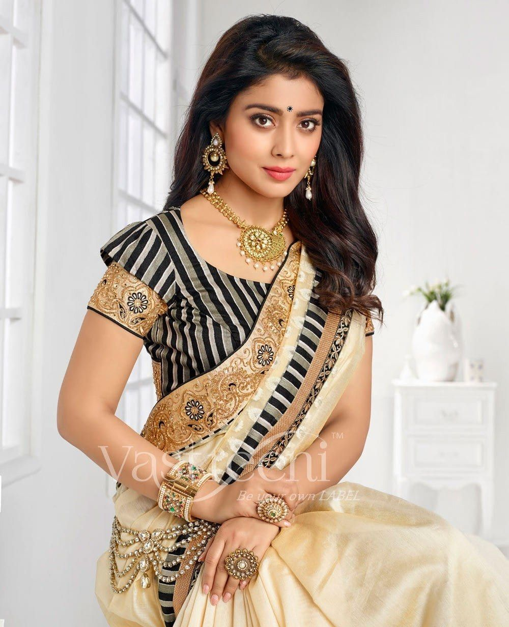 4c8a49a5cd cream-traditional-south-indian-wedding-saree-in-silk-c16484-f2c-2-831x1024 23  Latest South Indian Wedding Sarees To Try This Year