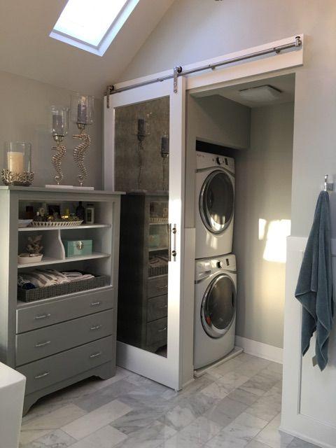 Master Bathroom Laundry Water Closet Farmdoor Marble Laundry