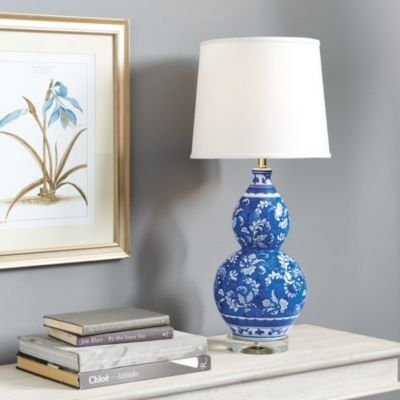 the double gourd shape of this classic table lamp was inspired by