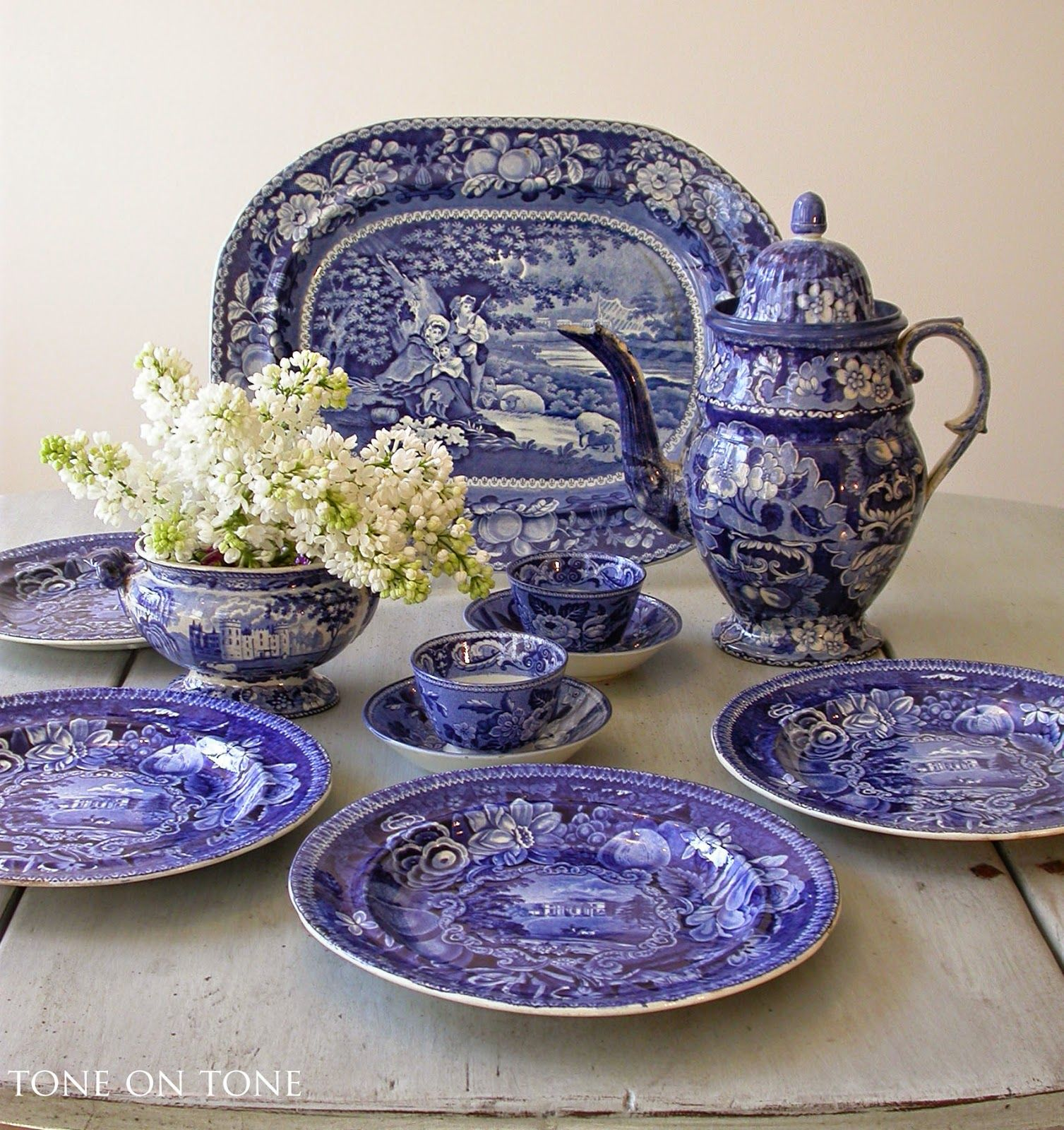 """""""England produced some of the best known blue-and-white transferware in the world."""" these are the dark blue Historical pieces...from Tone on Tone antique shop."""
